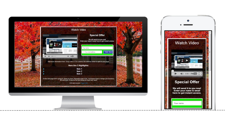 Mobile Squeeze Pages With Our Squeeze Creator Free Hosting Free - Free squeeze page templates